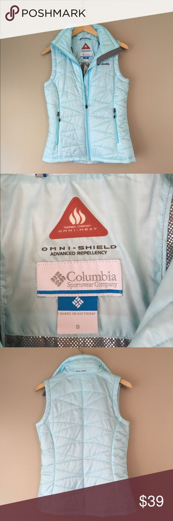 Columbia Sportswear Vest - PRETTY! Columbia Sportswear thin puffy vest in pretty ice blue. Perfect condition! Columbia Sportswear Jackets & Coats Vests