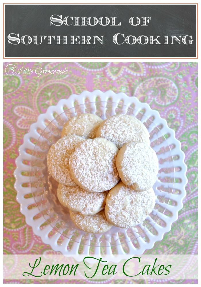 Dainty, Delicious, and Covered in Powdered Sugar! Love this Lemon Tea Cakes {School of Southern Cooking} Dainty Cookies Perfect for a Tea Party! http//:www.3littlegreenwoods.com