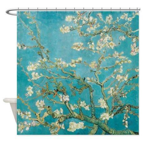 $58.95, Van Gogh Almond tree flowers - Blue Shower Curtain