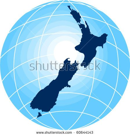 vector map of New Zealand with globe in background  #globe #retro #illustration