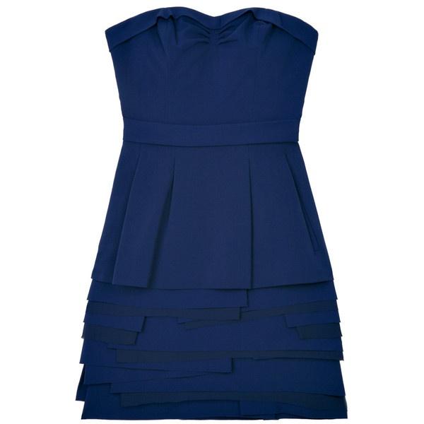 Navy Strapless Pocket Dress by BCBG Max Azria ($155) ❤ liked on Polyvore