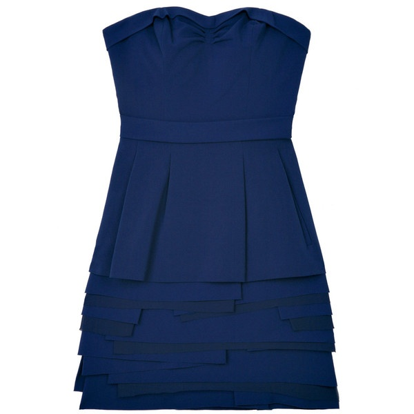 Navy Strapless Pocket Dress by BCBG Max Azria ($155) ❤ liked on Polyvore