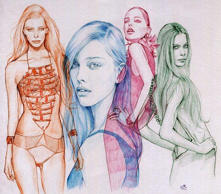 Ler Huang ballpoint pen art - fashion girls