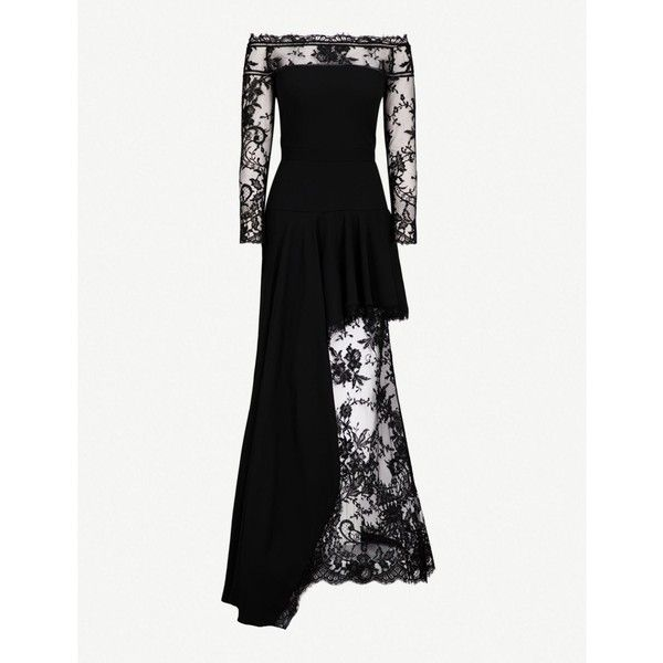 ALEXANDER MCQUEEN Off-the-shoulder crepe and lace gown ($7,415) ❤ liked on Polyvore featuring dresses, gowns, long sleeve lace dress, long gown, long lace gown, long lace dress and off the shoulder floral dress