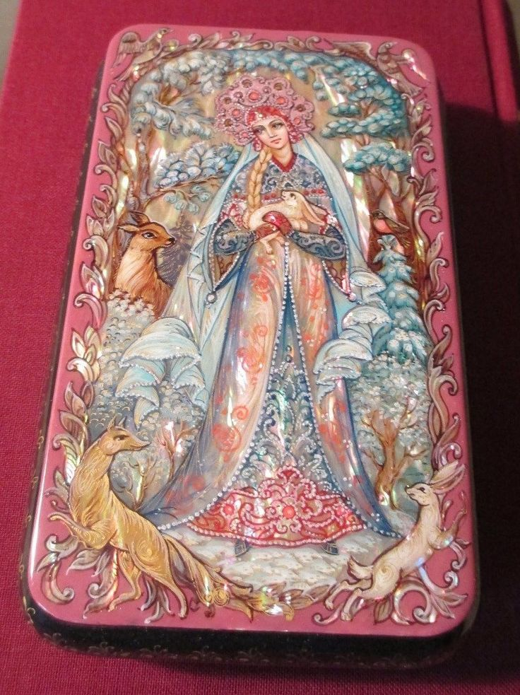 Russian Lacquer Box Kholui Snow Maiden Miniature Hand Painted | eBay