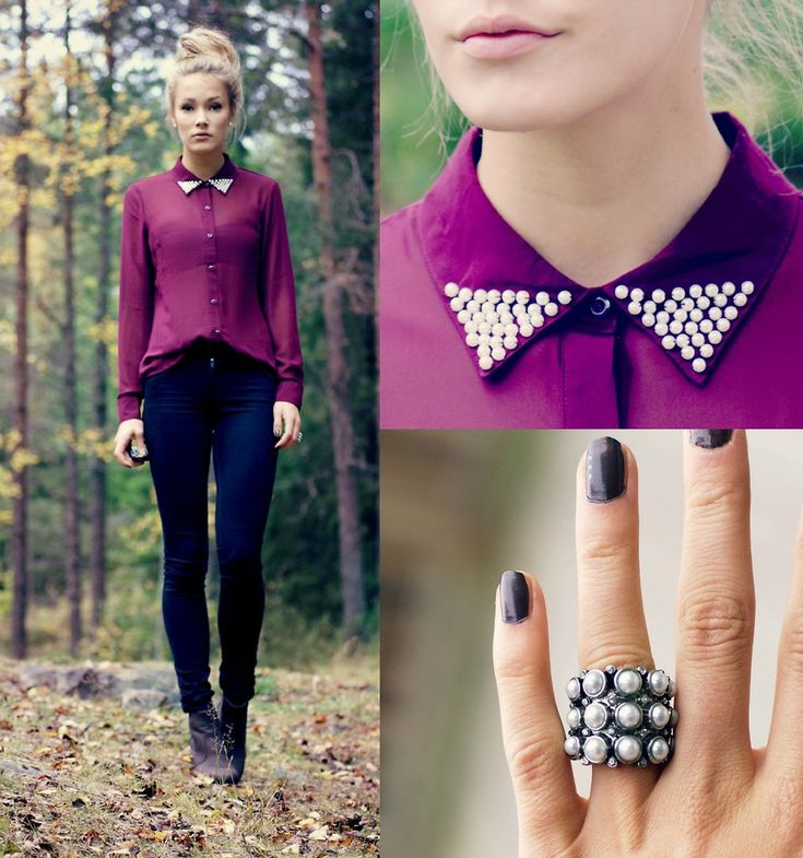 PearlsPurple, Style, Shirts, Colors, Peter Pan Collars, Vero Moda, Fall Fashion, Fall Outfit, Casual Looks