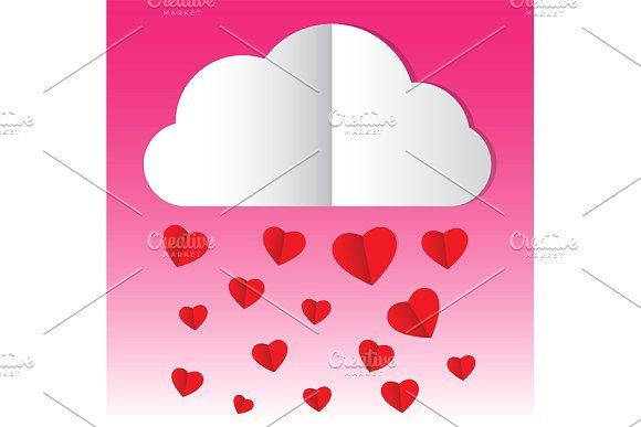 paper cloud heart rain by charnsitr on @creativemarket