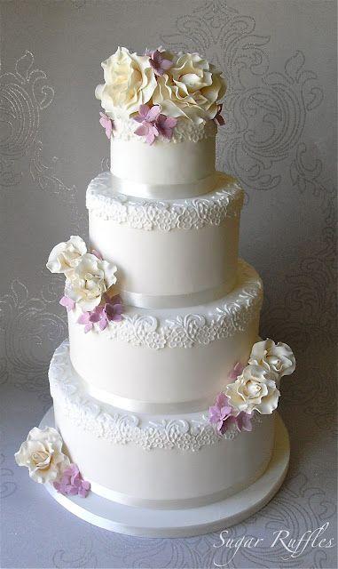 Sugar Ruffles, Elegant Wedding Cakes: Roses and Hydrangea Wedding Cake
