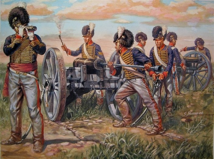 Capt. Mercer and his artillery battery - Waterloo 1815