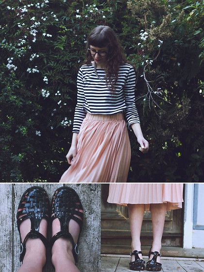 I Made It Striped Shirt, Pure Boutique Pleated Midi Skirt, Jelly Shoes