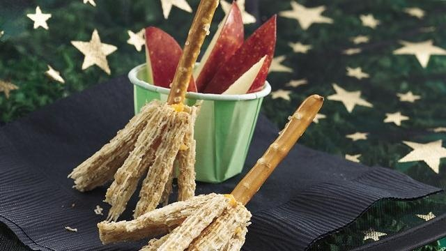 Get creative with witches' broom pretzel snacks that are ready in 15 minutes.