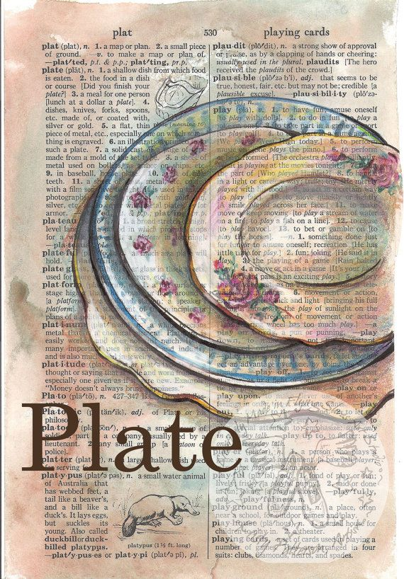 PRINT:  Plates Mixed Media Drawing on Distressed, Dictionary Page via Etsy