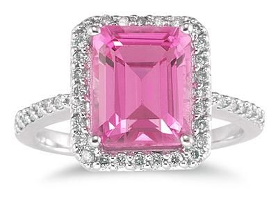 applesofgold.com - Pink topaz rings are making a colorful splash, with their brilliant hues and affordable prices! In this pic: 4.50 Carat Emerald-Cut Pink Topaz and Diamond Ring in 14K White Gold