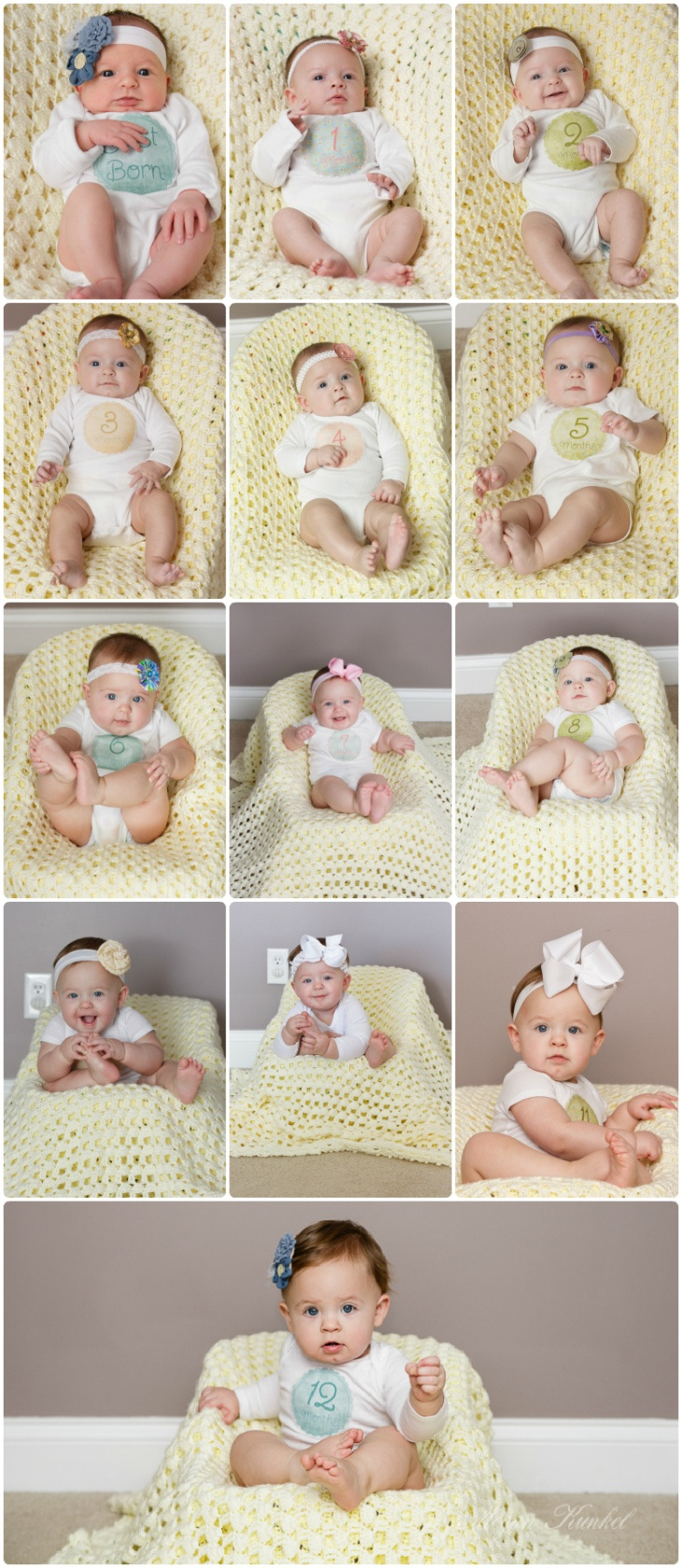 Monthly photos, newborn-12 months. Great way to capture their growth!