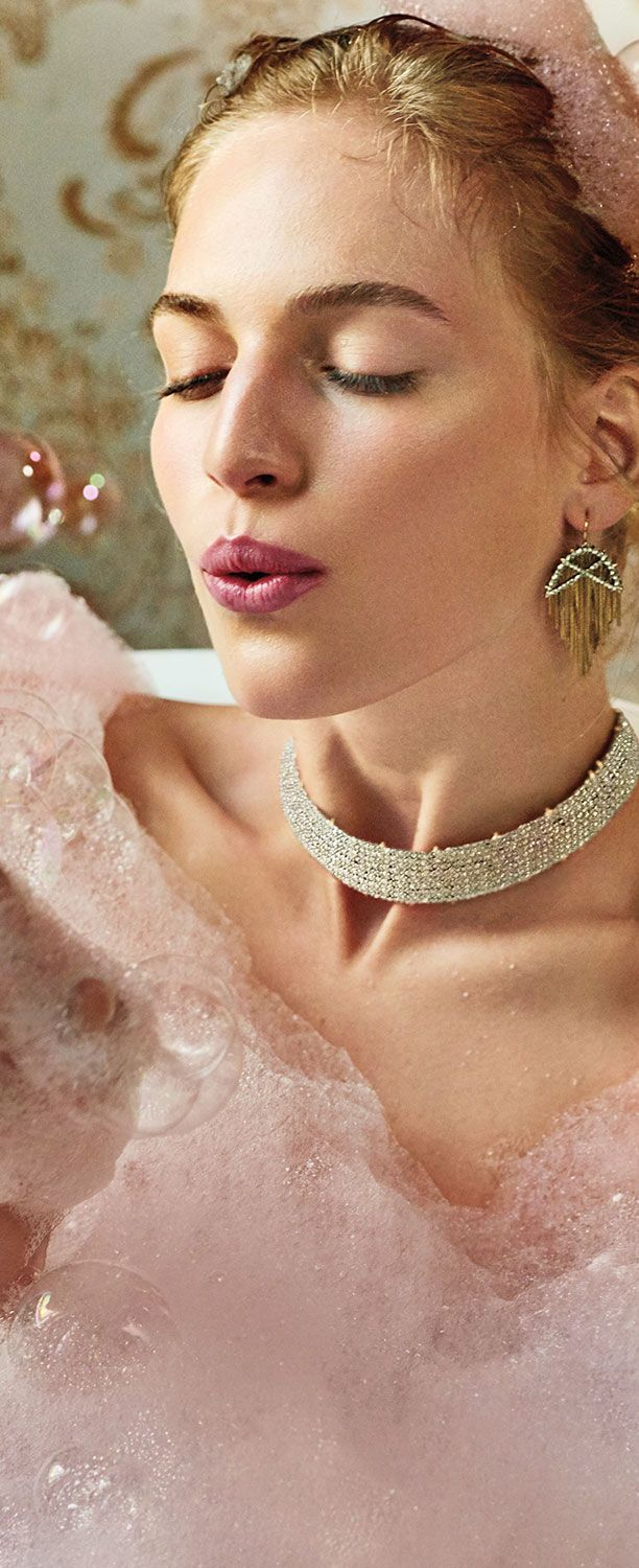 Alexis Bittar Chrystal Lace Choker & Earrings