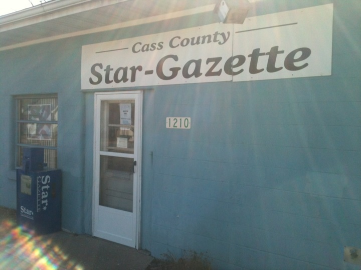 Where I work in Beardstown, IL.    https://foursquare.com/v/cass-county-star-gazette-beardstown-newspapers/4f4569ffe4b09760271cc100