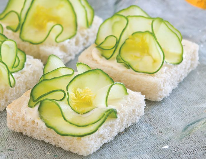 Cucumber Flower Canapés are a pretty take on the classic cucumber sandwich.