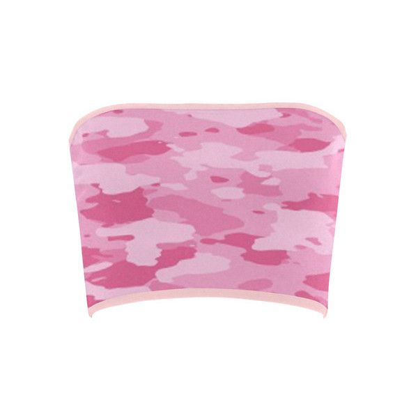 Pink Camo Bandeau Top ($16) ❤ liked on Polyvore featuring tops, pink, camo print top, pink top, camo top, bandeau bikini tops and pink bandeau top
