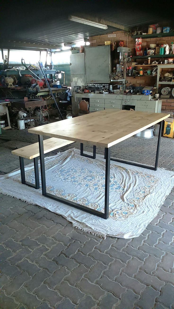 Industrial furniture, steel and wood furniture, steel and wood table, steel and wood bench, industrial tables and bench. Steel and wood furniture Pretoria, furniture Joburg.