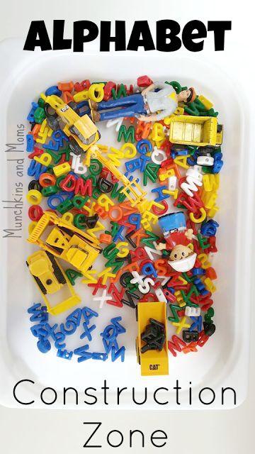 Alphabet Construction Zone- What a great mini sensory bin for preschoolers!