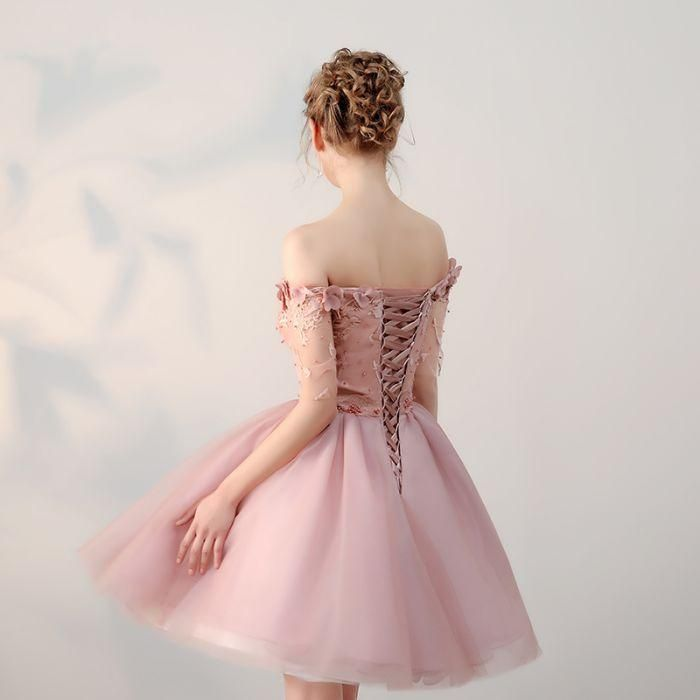 b9e66b4835 Chic Homecoming Dresses Short Pearl Pink Off-the-shoulder Tulle Cheap Prom  Dress AM022