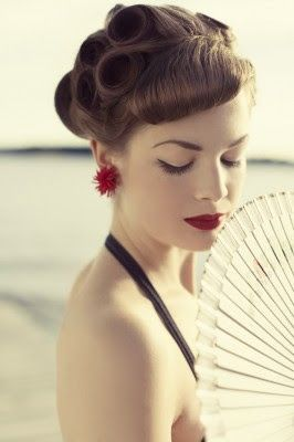 hair, lips, red, make up & best of all vintage