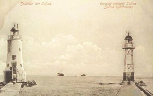 Sulina - Farurile din port - antebelica