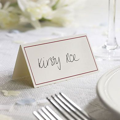 ivory border with accent color wedding place card pack