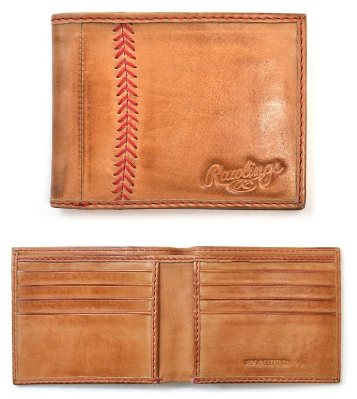 Vintage Baseball Stitch Tan Leather Bifold Wallet by Rawlings<br>ONLY 4 LEFT!