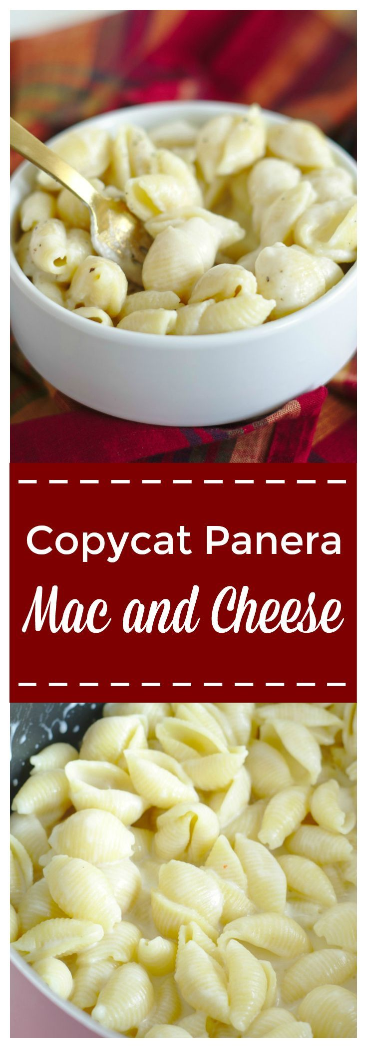 Copycat Panera Mac and Cheese – A quick and easy copycat recipe that tastes just like Panera's mac and cheese! Pasta covered in a creamy white cheddar cheese sauce! #panera #pasta #copycat #macandcheese #macaroni