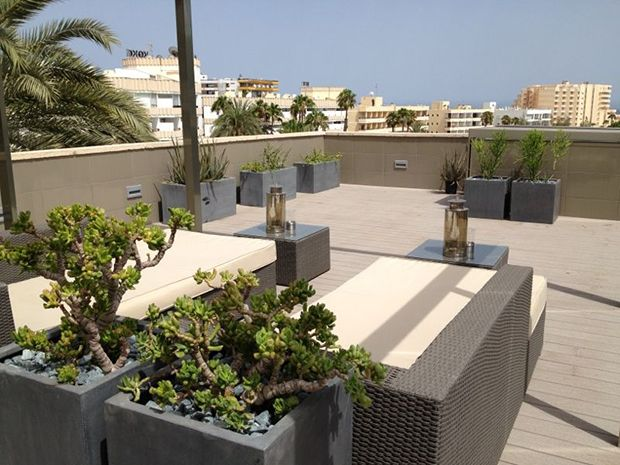 Roof terrace in Playa del Ingles, close to the Yumbo Centre.