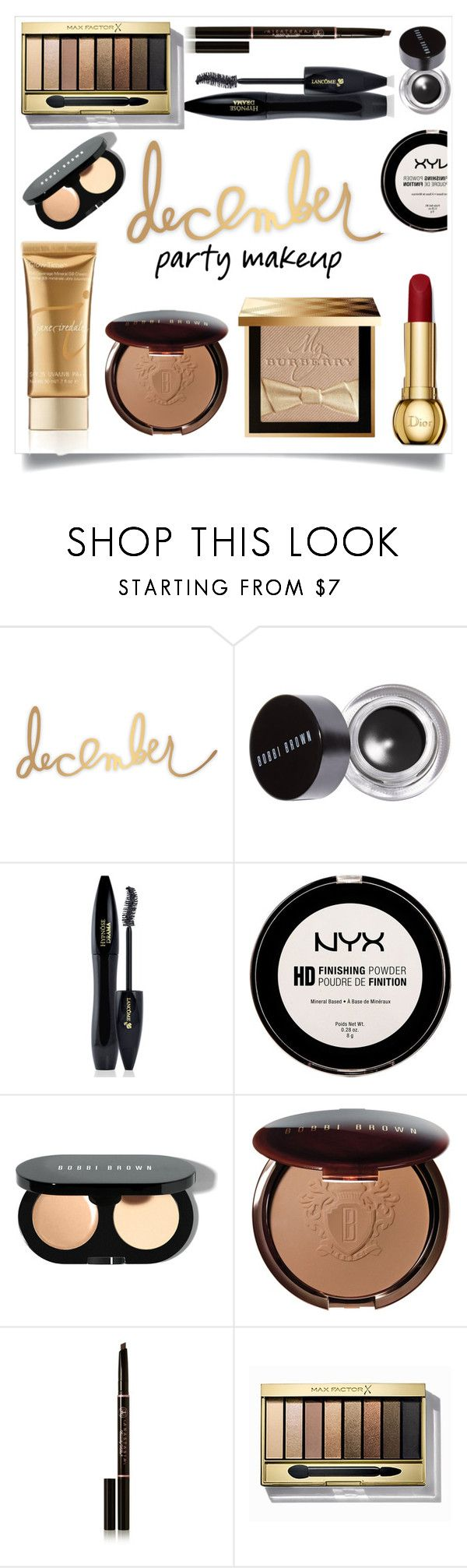 """""""Holiday Makeup - brown/red"""" by erinparkerofficial ❤ liked on Polyvore featuring beauty, Heidi Swapp, Bobbi Brown Cosmetics, Lancôme, NYX, Anastasia Beverly Hills, Max Factor and Burberry"""