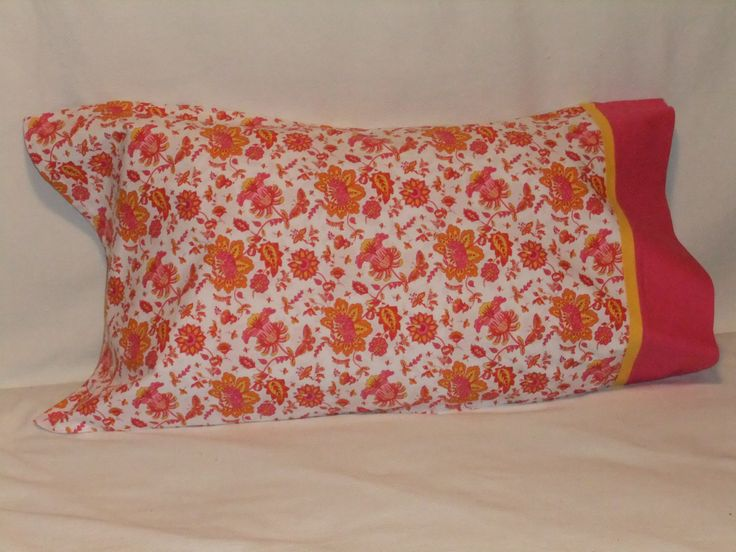 """FLOWERS in Pink & Yellow PILLOWCASE - 20"""" X 35"""" by KatiesCOVERS on Etsy"""