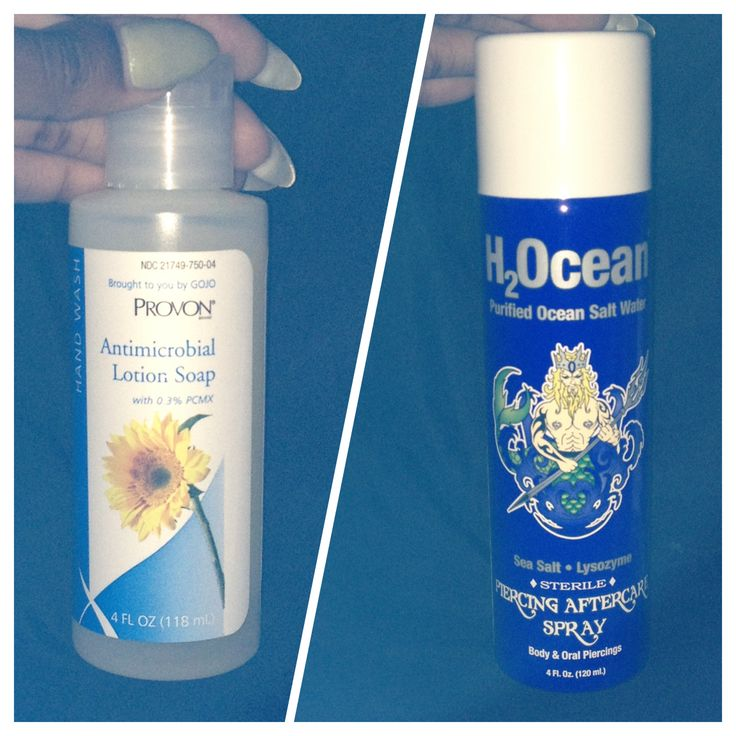 Before you get your belly button pierced I definitely recommend these products as an investment! On the left is an antibacterial soap that you use to clean while in the shower (Provon). And on the right is a salt water mixture that you spray on the piercing 1-3 times a day to clean it (H2Ocean). I ordered both of these products off of Amazon and my piercing is healing with no problems. My personal method is to use H2Ocean 2x a day and use Provon once so I won't over clean it.