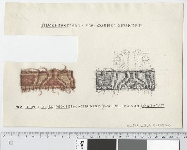 Oseberg Findings from folder 'Oseberg, textiles - silk': Silk Fabric 8, fragment 4. The character of Sofie Krafft: ink drawing ('trying construction') and watercolor ('character'). Dimensions: W: 24.5 cm, H: 17.5 cm.
