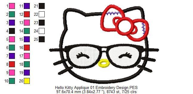 Hello Kitty Applique 01 Embroidery Design by AppliqueEmbroideryCo on Etsy https://www.etsy.com/listing/467705322/hello-kitty-applique-01-embroidery