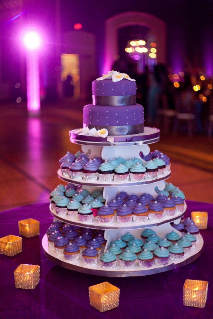 purple turquoise cupcake tower   courtesy Garrett Frandsen Photography   www.shaadibelles.com