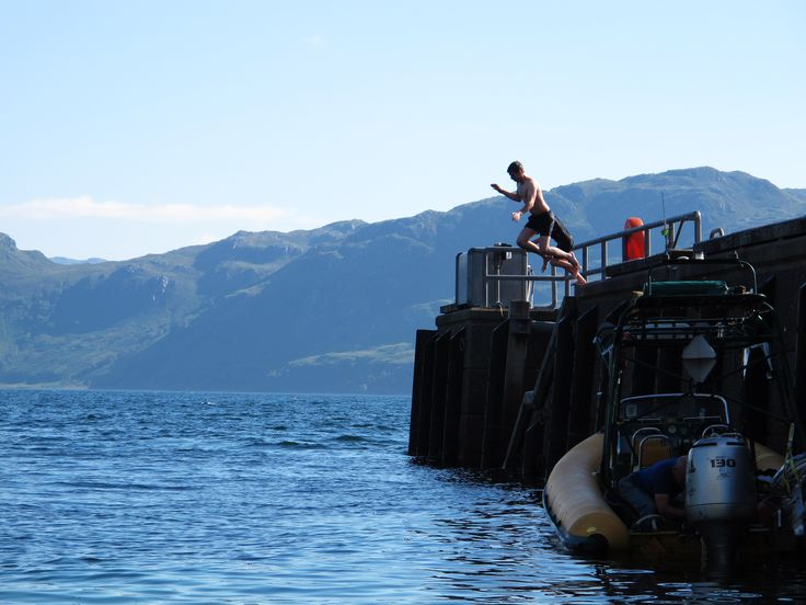 Take the plunge! Diving/jumping off the pier in Inverie Village is a highlight amongst the local and visiting kids. Knoydart.