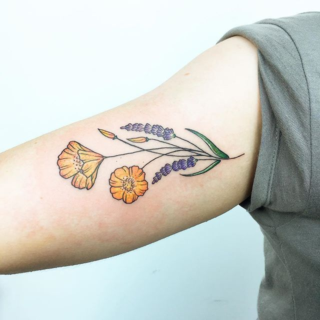 California bouquet: lavender and poppies