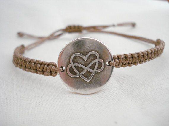Infinity love bracelet Silver heart bracelet Love by Poppyg