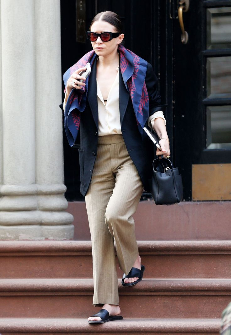 Ashley Olsen Perfectly Demonstrates How to Wear Your Scarf for Spring via @WhoWhatWear