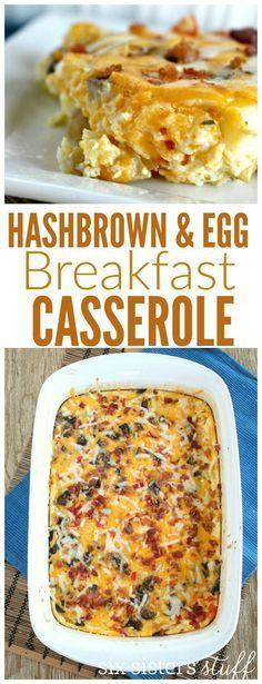 Hash brown and Egg Breakfast Casserole from http://SixSistersStuff.com   A delightful breakfast recipe that is stuffed with veggies and protein!