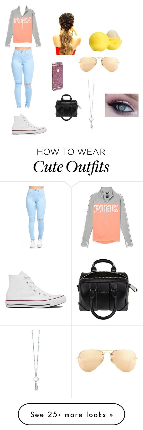"""""""Casual Outfit"""" by pandieandbffs on Polyvore featuring Converse, Eos, Ray-Ban, Givenchy, women's clothing, women, female, woman, misses and juniors"""