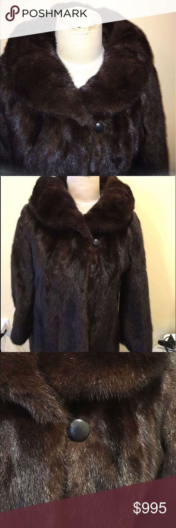 """Ruche Collar Brown Mid Length Mink Coat Vintage Long Sleeve Brown Mink Coat 