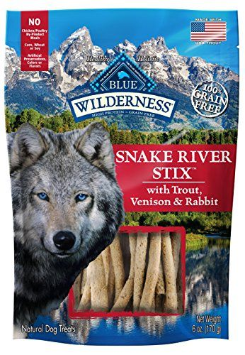 BLUE Wilderness Grain Free Snake River Stix with Trout, Venison & Rabbit Dog Treats 6-oz - From the trout who hide in its shaded pools, to the wild game who roam its rugged banks, the Snake River is home to the foods that wolves crave. And now with Wilderness Snake River Stix, your dog can join with the wolf and enjoy a protein-rich treat that's worthy of his wild ancestors.Made with t...