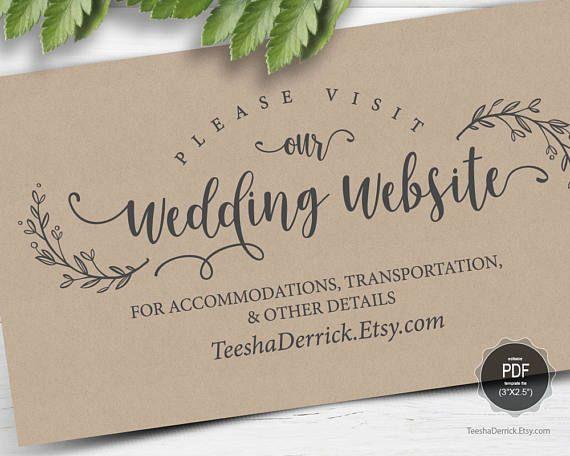 Wedding Website Card Template Instant Download Pdf Editable Template Enclosure Card Insert Card Kraft Modern Rustic Design Ted418 36 Wedding Website Card Wedding Website Card Template