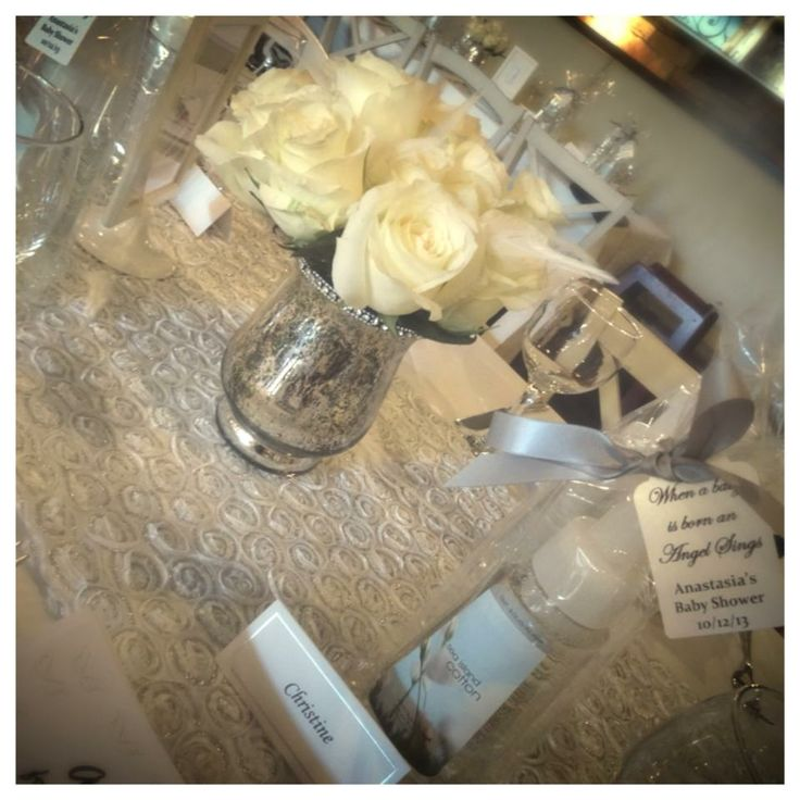 silver gold angel theme baby shower centerpiece and favor baby