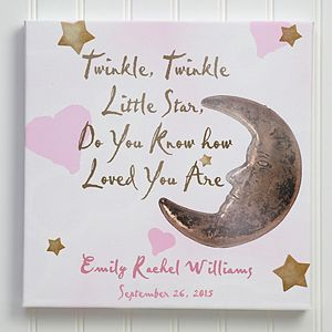 Personalized Newborn Baby Canvas Art - Stars & Moon Design - twinkle, twinkle - Large - Baby Gifts