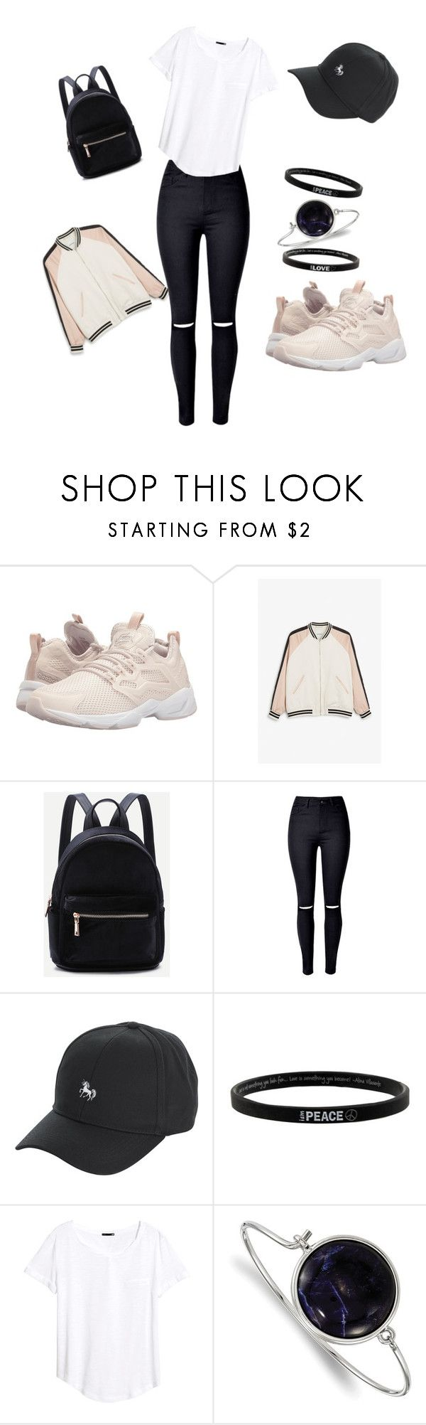 """""""blackpink"""" by ko-mi-ka ❤ liked on Polyvore featuring Reebok Lifestyle, Monki, WithChic, Peace Love World, H&M and 1928"""