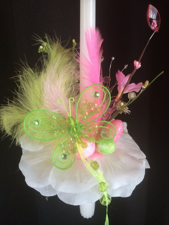 Pink and lime feather candle, 2014 on Etsy, $25.00